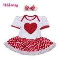 Nuevo Bebé de la Manera Vestido de Punto de Impresión Del Mameluco Del Corazón Ropa Niñas de Las Flores Vestidos de Princesa Hermosa para 0-2 Años 2016 Verano