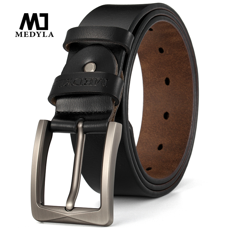 MEDYLA Natural Cowhide Men's Belt High Quality Steel Buckle Soft Belt Belt For Men's Suit Casual Pants Jeans Belt Dropship