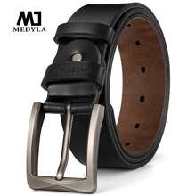 MEDYLA natural cowhide mens belt high quality steel buckle soft for suit casual pants jeans Dropship