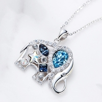 Elephant Pendants Charms 925 Sterling Silver Hollow Design Crystal Clavicular Chain S028