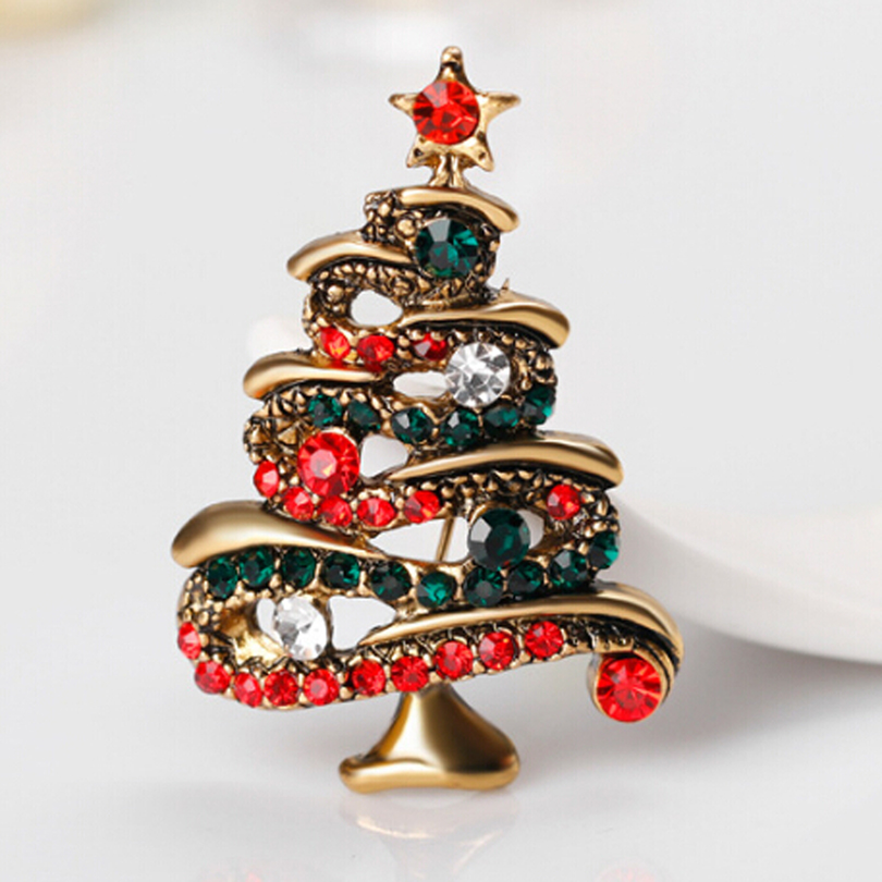 Vintage Multicolor Crystal Christmas Tree Brooch Pins Hat Brooches for Party Women Lady Sweater Pin Fashion Jewelry Broche XZ337