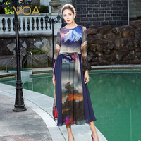 VOA Silk Dress Plus Size High Waist Women Long Dresses Classical Chinese Style Ink Painting Print Puff Sleeve Summer ALX11301