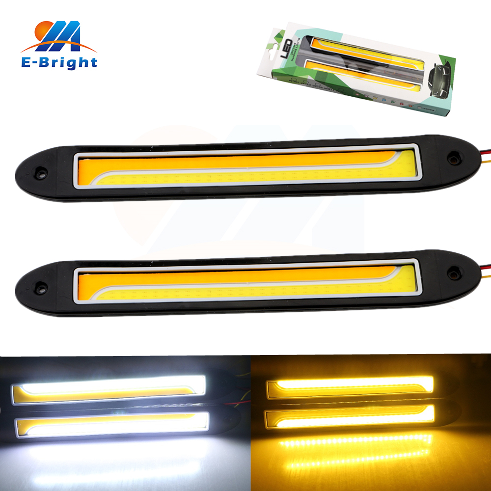 1 Pair White/Amber Yellow COB 120 SMD 77 SILICA Daytime Running Lights Led Fog Light Flexible DRL Turn Signal Free Shipping