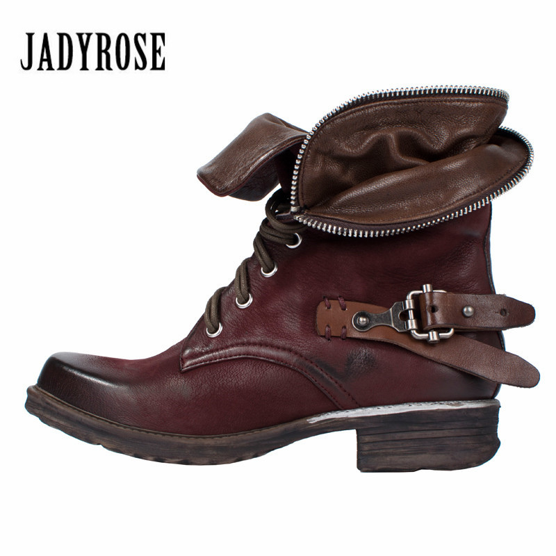 Jady Rose Vintage Ankle Boots for Women Zip Decor Autumn Winter Martin Boots Platform Genuine Leather Rubber Flat Ladies Shoes mabaiwan retro brown ankle boots for women metal decor autumn winter botas mujer genuine leather platform rubber shoes woman