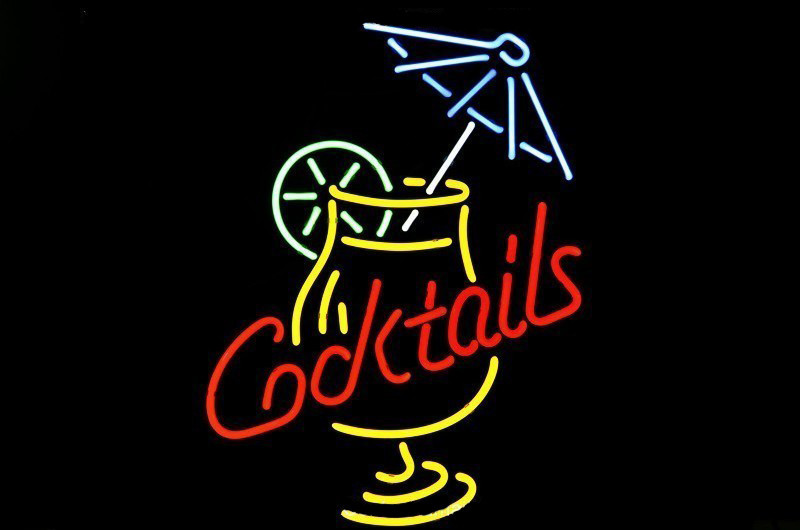 NEON SIGN For Cocktail Martini Umbrella Cup Signboard REAL
