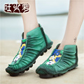 Ретро Высокое Качество Ручной Работы Высокого Хи Весна/Осень женская обувь натуральная кожа плоским круглый носок комфортно обувь