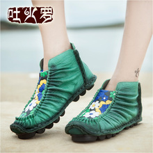 Retro High Quality Of Handmade High Hee Spring/Autumn Shoes  women's shoes genuine leather flat round toe comfortable shoes