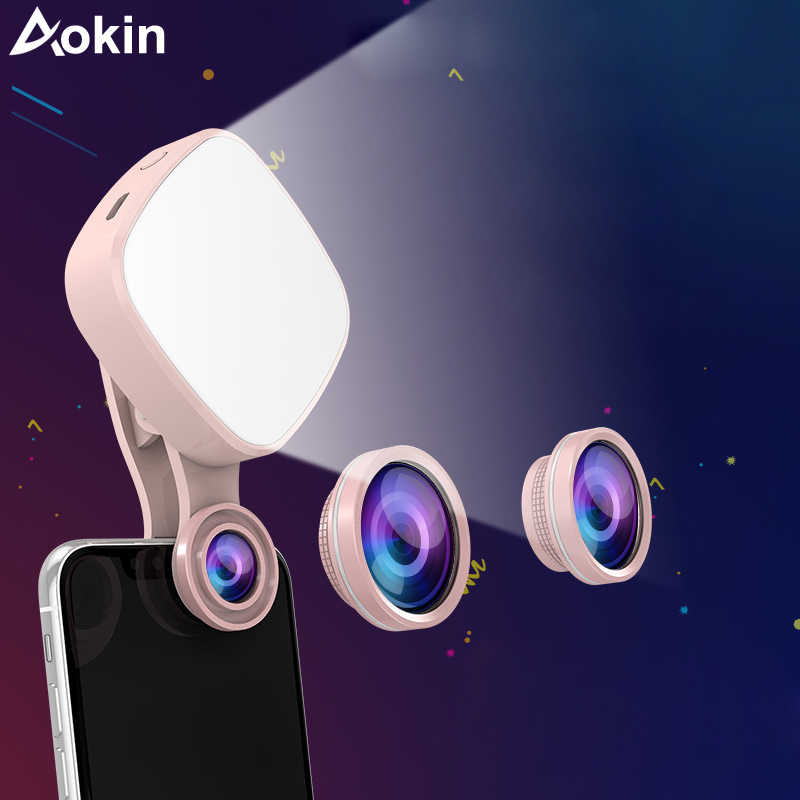 Aokin Selfie Ring Light with HD 3 in 1 Fisheye Wide Angle Macro Lens Flash Led Camera Phone Photography for iPhone Samsung Lens