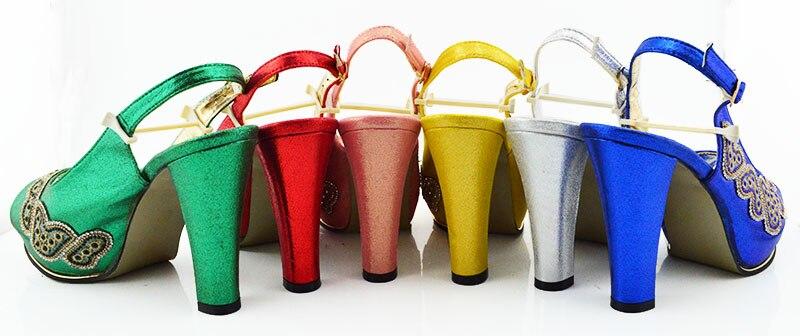 Nieuwste Ontwerp Bijpassende Italiaanse Schoen en Tas Set Versierd met Strass Afrikaanse Schoenen en Bijpassende Tassen JZC002-in Damespumps van Schoenen op  Groep 2