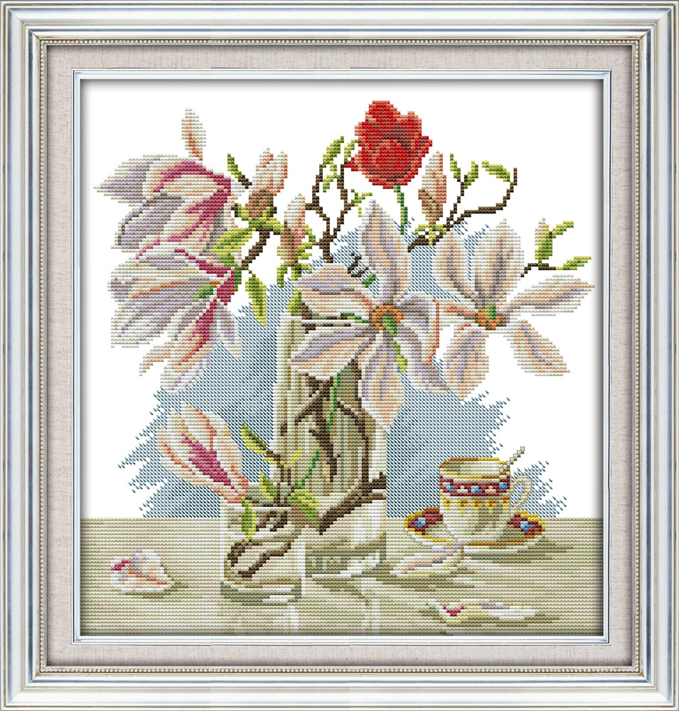 Piękny kwiat magnolii drukowane płótno DMC Counted chiński Cross - Sztuka, rękodzieło i szycie - Zdjęcie 2