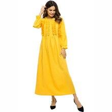 Long Sleeve Splice Flounced Maxi Dress Muslim Middle East Robe Abayas For Women Jubah Ramadan Turkish Islamic Prayer Clothing refreshing long sleeve tiny flower printed flounced dress for women