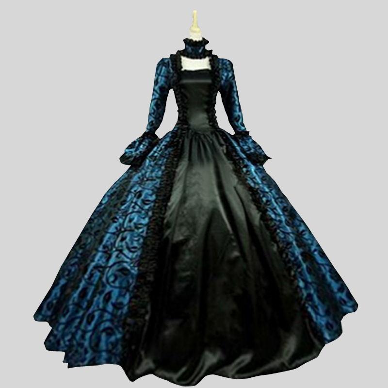 Индивидуальные 2018 летние готический, викторианской эпохи платья для вечеринок Хэллоуин синий и фиолетовый цветочный узор платье для балла