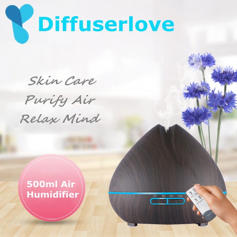 Diffuserlove 500ml Air Humidifier Aroma Essential Oil Diffuser Aromatherapy Hmidificador 7 Color Change LED Night Light