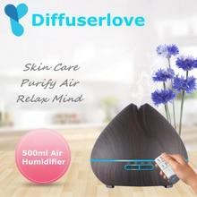 Diffuserlove 500ml Hava Nemlendirici aromalı uçucu yağ Difüzör Aromaterapi Hmidificador 7 Renk Değişimi LED Gece Işığı