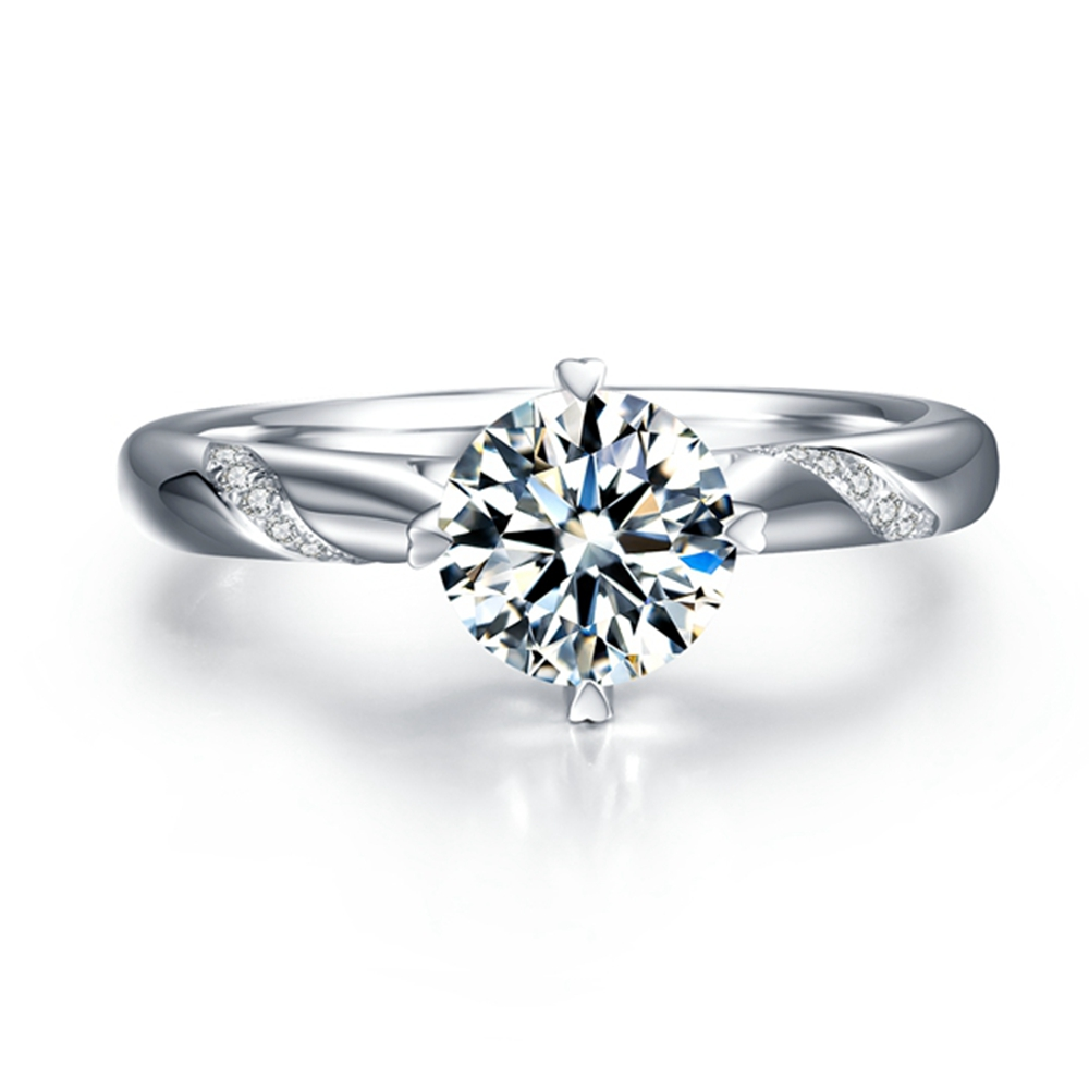 Solid Silver 0.5-3ct Lab Grown Diamond Moissanites 4 Prongs Solitaire With Accents Engagement Ring DEF Color VVS1