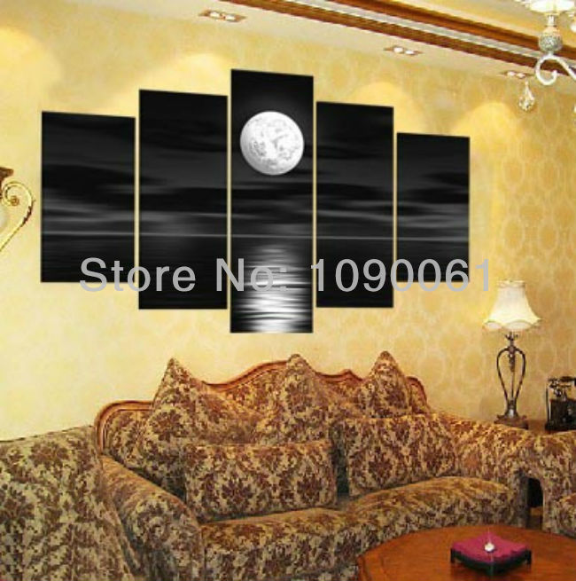 Hand Painted Modern Abstract Sea Full Moon Painting Landscape Black ...
