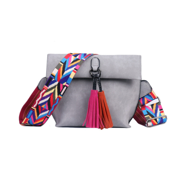 EXCELSIOR Hot Selling Women's Bags Quality Scrub PU Crossbody Bag Stylish Women's Bag Tassel Shoulder Bags with Colorful Strap 1