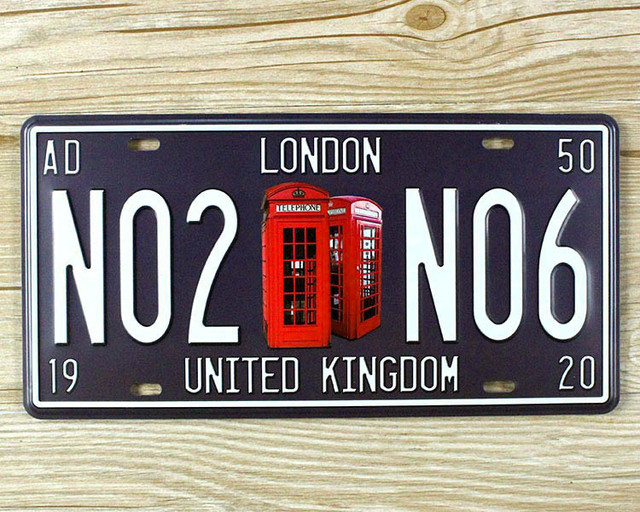 "metal tin signs top fashion ""london n02 n06"" license plates wall art"