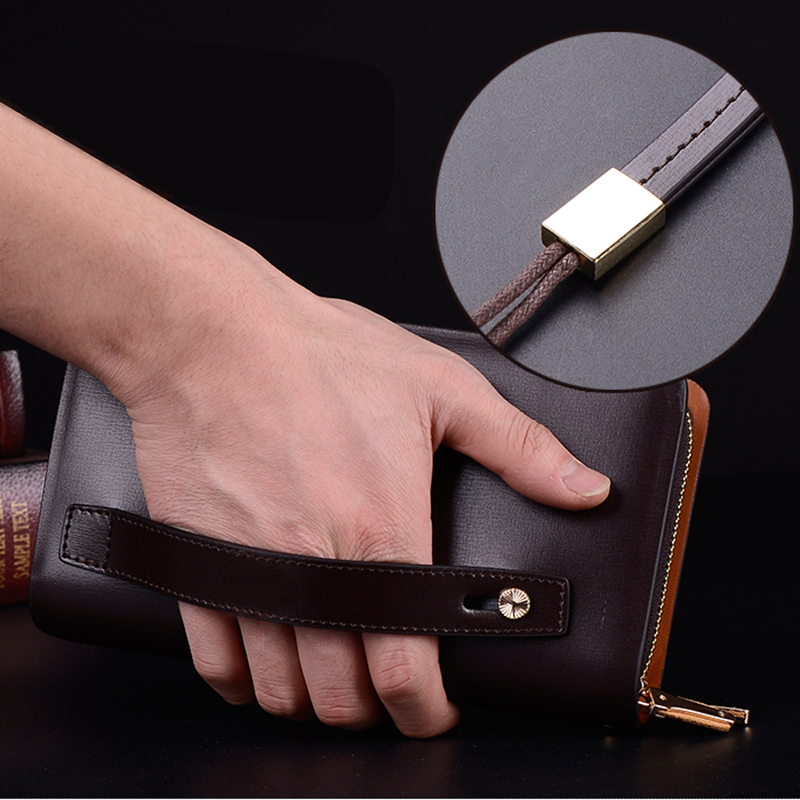Business Men Long Wallet Double Zipper Genuine Leather Male Purse Brand Wristlet Hand Clutch Bag Large Capacity Phone Holder genuine leather men business wallets coin purse phone clutch long organizer male wallet multifunction large capacity money bag