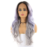 Silver Grey Ombre Color Synthetic Hair Wigs For Black Women X TRESS Long Wavy 13x4inch Swiss Lace Front Wig Middle Free Part