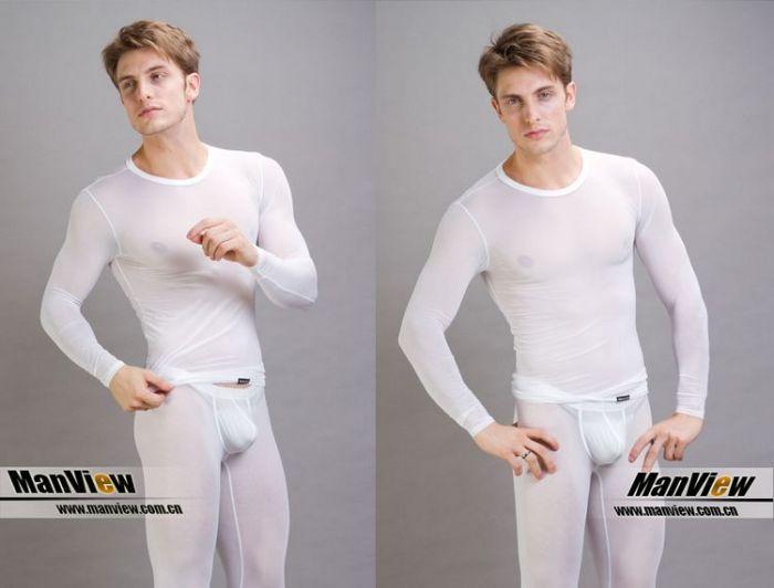 Men Long Johns Manview ice silk ultra-thin warm suit underwear men