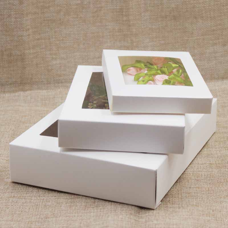 50pcDeluxe White Paper Gift Package& Display Box With Clear Pvc Window Ivory Candy Box Arts&krafts Box Kraft Package Window Box