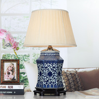 Vintage style porcelain ceramic desk table lamps for bedside chinese Blue and White Porcelain blue porcelain table lamp