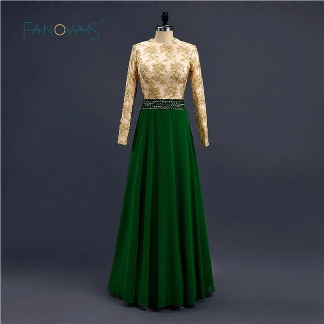 Real Sample Green Beaded Waist Lace Appliques Long Sleeve Hijab Arabic Muslim  Evening Dresses Vestidos De Noiva Longo ZED809 731fb80445d9