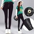 4xl plus big size denim jeans panty women spring autumn winter 2016 feminina new black pants female A2134