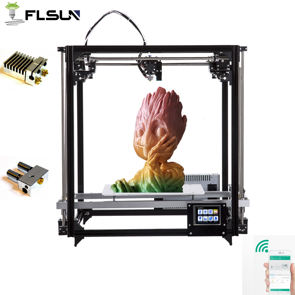 2019 plus récent Flsun 3D imprimante double extrudeuses modèle écran tactile grande zone d'impression 260*260*350mm nivellement automatique WIFI Support
