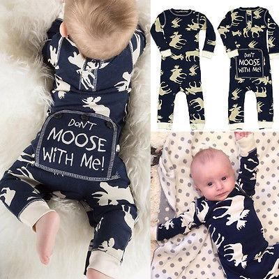 Enchanting Moose Deer Cotton Romper | Xmas Outfits 2017