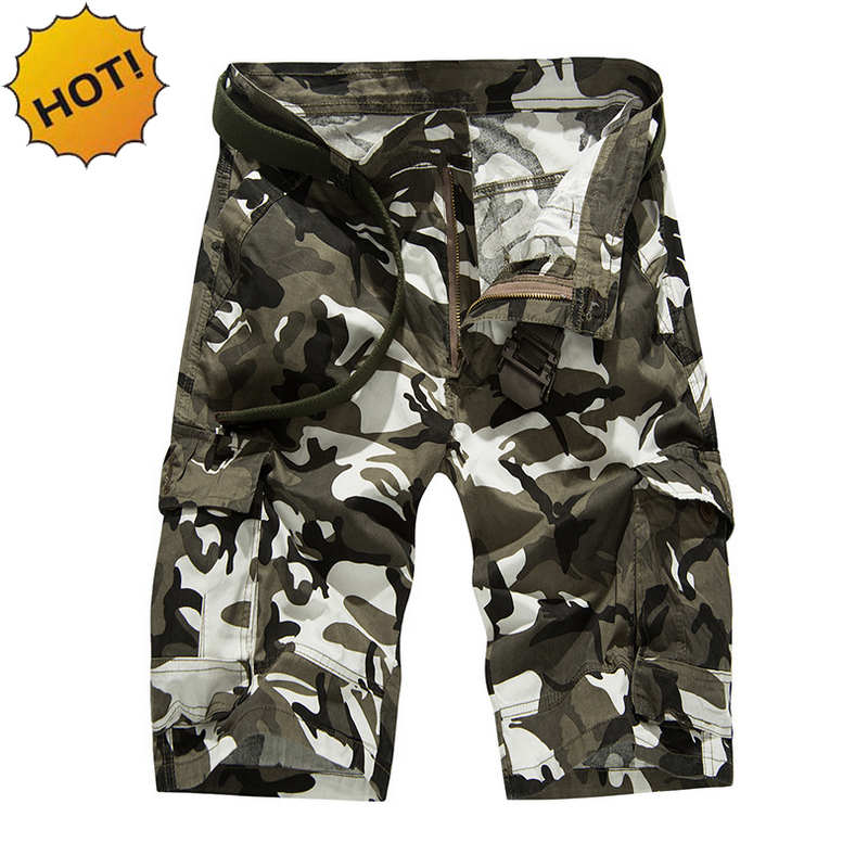 TOP Quality 2017 Summer Camouflage Baggy Knee Length Cargo Shorts Men Cotton Tactical Joggers Summer Short Trousers Bottoms