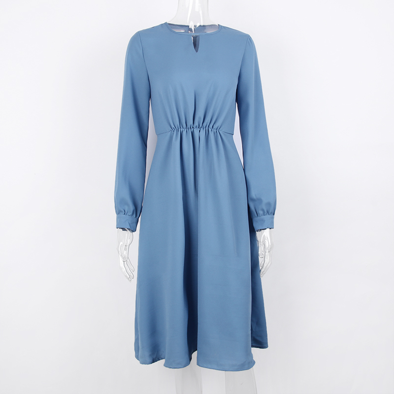 Blue spicy sewing womens dress with long sleeves to the middle of caviar of a trapezoid shape Party dresses