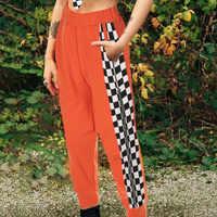 Europa Rusia Noble mujeres de alta calidad pantalones casuales pantalones de tela escocesa de retazos naranja estampado alta cintura elástica cremalleras Pantalones
