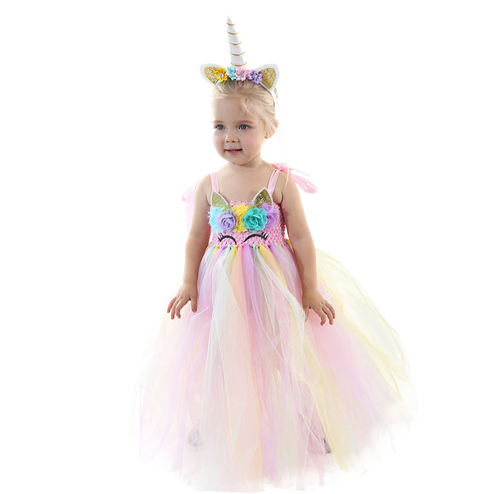 Pastel Girls Unicorn Tutu Dress Pastel Rainbow Princess Flower Girl Party Dresses Kids Birthday Halloween Unicorn Costume 1-14