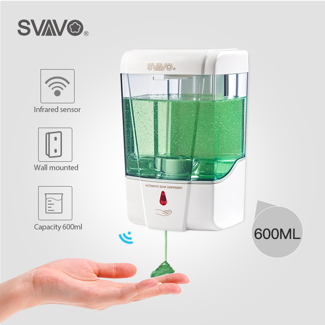 600ml Capacity Automatic Soap Dispenser Touchless Sensor Hand Sanitizer Detergent Wall Mounted For Bathroom Kitchen