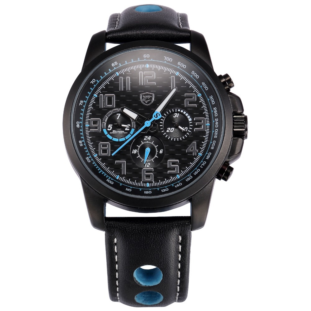 New Shark Sport Watch 6 Hands Day Date Display Skeleton Leather Strap Relogio Male Clock Black Blue Men Military Watches / SH185 видеодиски нд плэй защитники 2016 dvd video dvd box