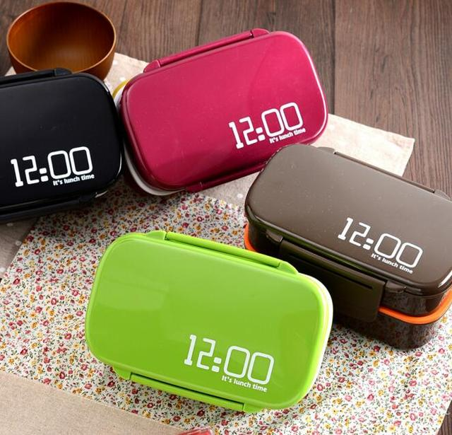 US $10 42 26% OFF|Creative It's lunch time 1410ml Double Layer Plastic  Lunch Box Microwave oven Large Capacity Lunch Bento Box Lunchbox-in Lunch  Boxes