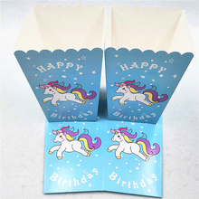10pcs/set Unicorn Popcorn Boxes Happy Birthday Party Supplies Candy Loot Box Cartoon Theme Baby Shower Wedding Decoration