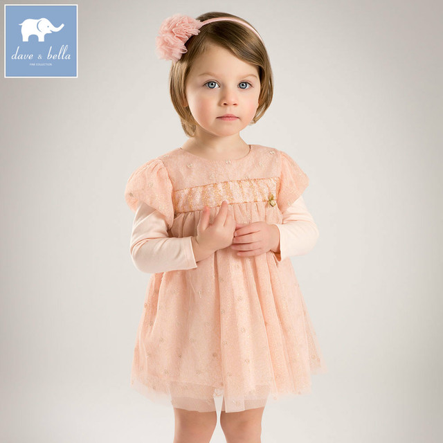 bac5cf0187be DB5196 dave bella bambino vestito da principessa delle ragazze alla moda per  bambini rosa vestiti del