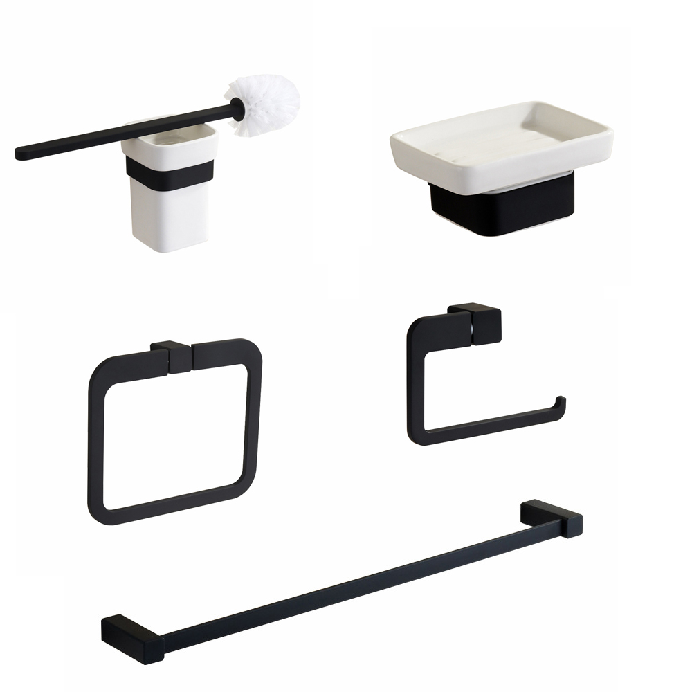Free Shipping High-grade bath hardware set black rubble painting towel bar toilet paper rack soap dish cup holder free shipping wall mounted space aluminum black golden paper towel shelf phone toilet paper holder