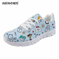 INSTANTARTS Fashion 3D Cartoon Nurse Bear Prints Flats Shoes Lace Up Sneakers for Teenage Girls Brand Design Woman Spring/Autumn