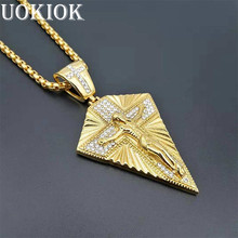 Hip Hop Iced Out Bling Jesus Cross Pendant Necklace For Men Gold Color Stainless Steel Crucifix Necklaces Male Religious Jewelry