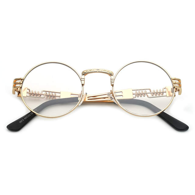 24a8da1f820 Peekaboo clear fashion gold round frames eyeglasses for women vintage  steampunk round glasses frames for men