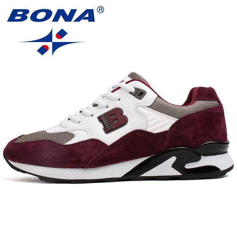 BONA Новый Традиционный стиль для мужчин кроссовки уличная прогулочная беговые кроссовки кружево до спортивная обувь удобная спортивная обу...