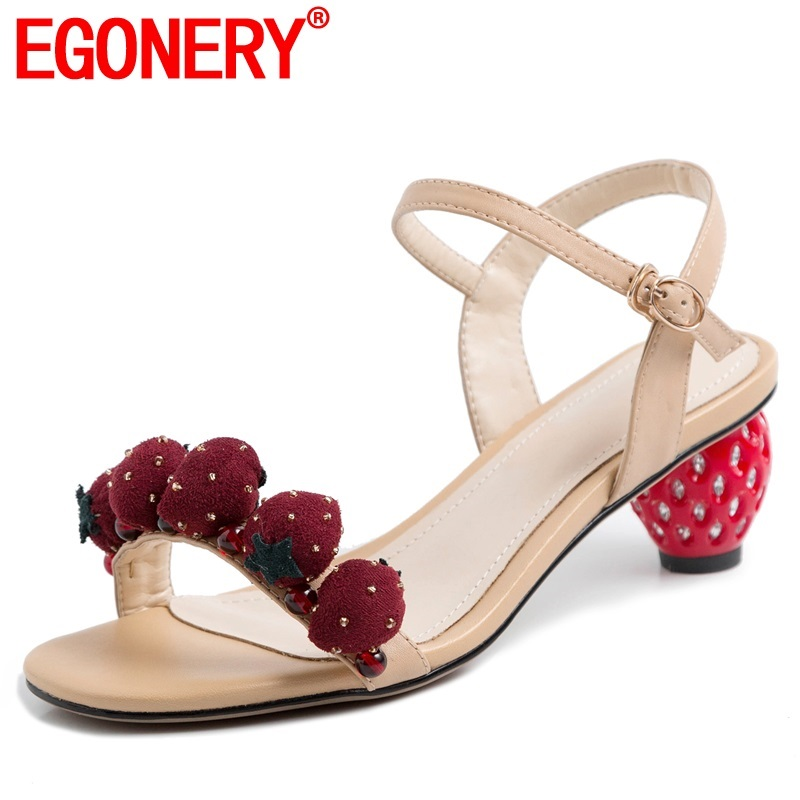 EGONERY woman shoes 2019 summer new fashion sexy buckle handmade genuine leather woman sandals outside mid
