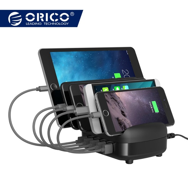 ORICO 5 Ports USB Charger Station Dock with Holder 40W 5V 2.4A for Smart Phone Tablet PC