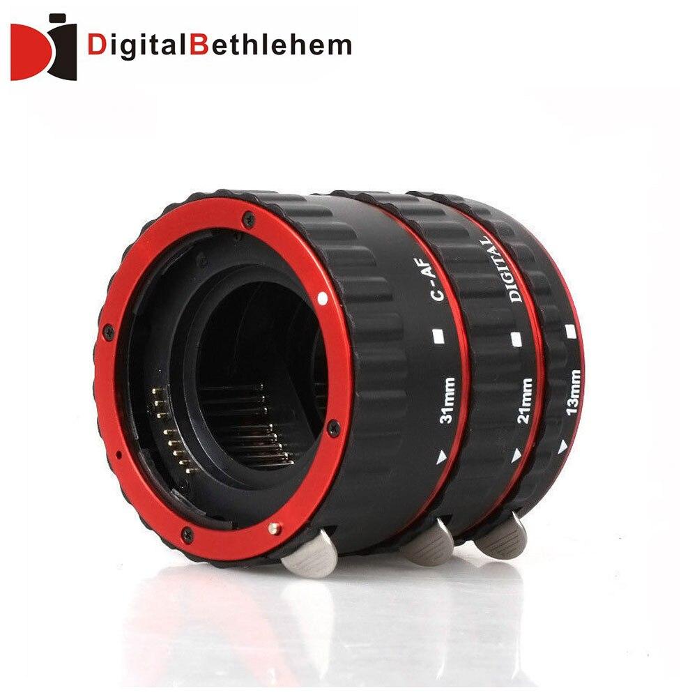 Prix pour Rouge Metal Mount Autofocus AF Macro Extension Tube/Ring pour Kenko Canon Objectif EF-S T5i T4i T3i T2i 100D 60D 70D 550D 600D 6D 7D