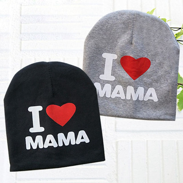Spring Autumn Baby Knitted Warm Cotton Beanie Hat For Toddler Baby Kids Girl  Boy I LOVE PAPA MAMA Print Baby Hats Y0074 016fc578e0fc