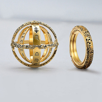 Vercret 925 sterling silver Astronomical Sphere Ball Ring vintage Couple Lover Jewelry Gifts
